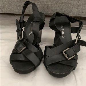 6M Black Leather upper strap wedge sandals